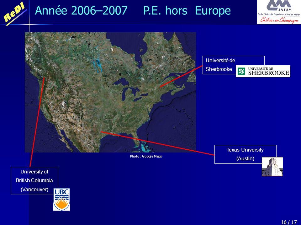 ReDI 16 / 17 Année 2006–2007 P.E. hors Europe Texas University (Austin) Université de Sherbrooke University of British Columbia (Vancouver) Photo : Go