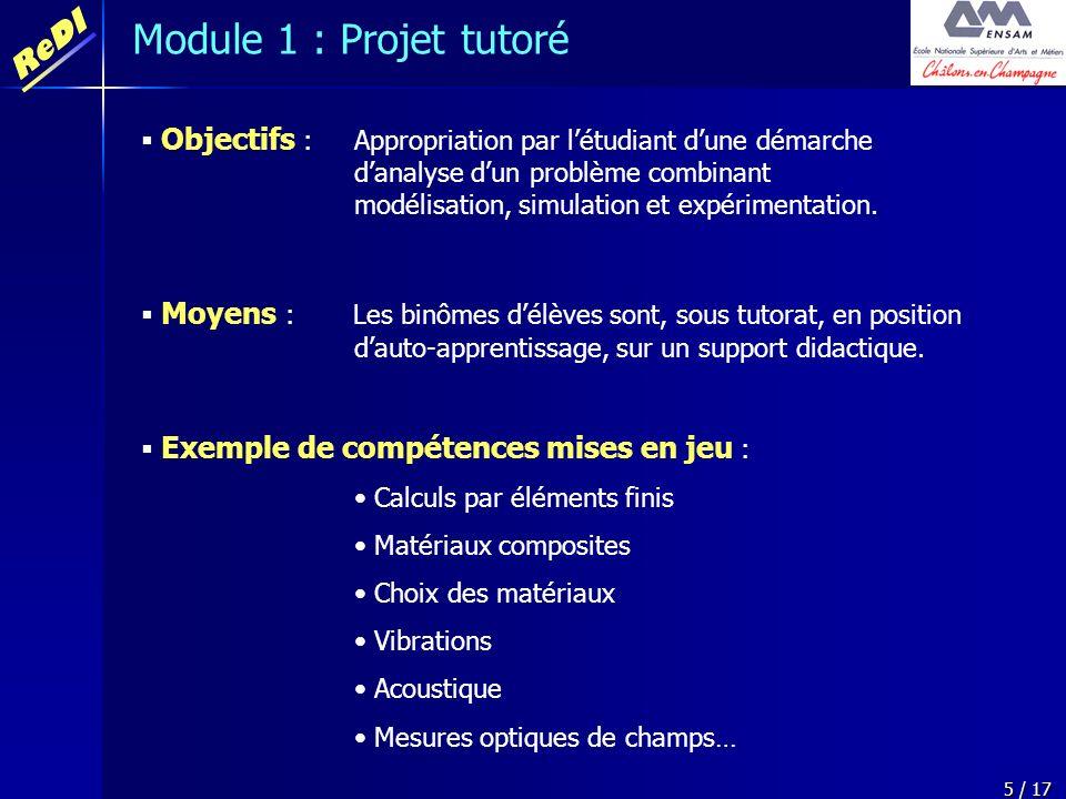 ReDI 5 / 17 Objectifs : Appropriation par létudiant dune démarche danalyse dun problème combinant modélisation, simulation et expérimentation. Moyens