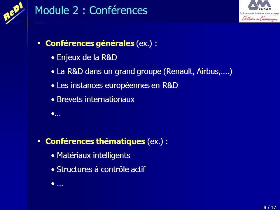 ReDI 8 / 17 Conférences générales (ex.) : Enjeux de la R&D La R&D dans un grand groupe (Renault, Airbus,….) Les instances européennes en R&D Brevets i
