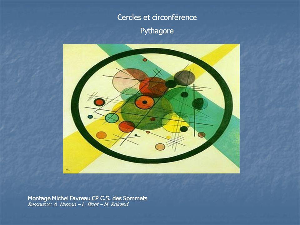 Cercles et circonférence Pythagore Montage Michel Favreau CP C.S. des Sommets Ressource: A. Husson – L. Bizot – M. Roirand