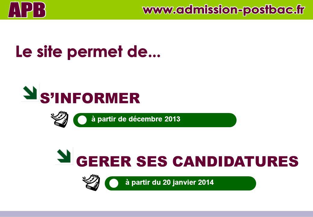 SINFORMER GERER SES CANDIDATURES à partir de décembre 2013 à partir du 20 janvier 2014