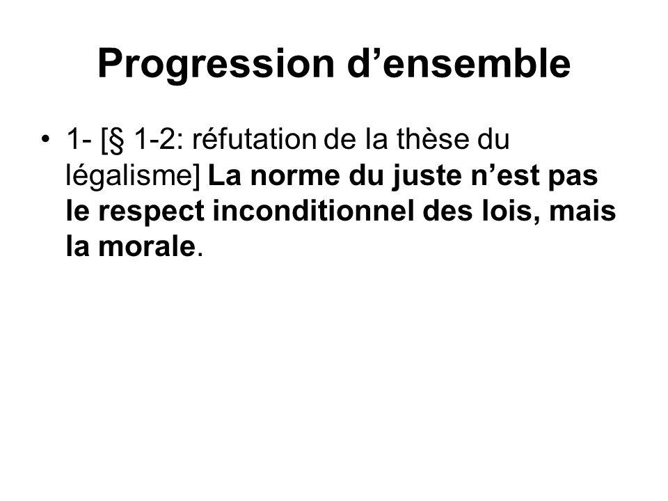 Progression densemble 1- [§ 1-2: réfutation de la thèse du légalisme] La norme du juste nest pas le respect inconditionnel des lois, mais la morale.