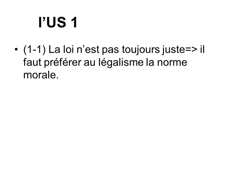 lUS 1 (1-1) La loi nest pas toujours juste=> il faut préférer au légalisme la norme morale.