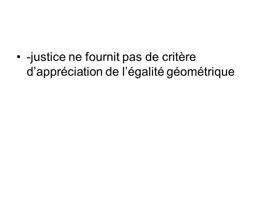 -justice ne fournit pas de critère dappréciation de légalité géométrique
