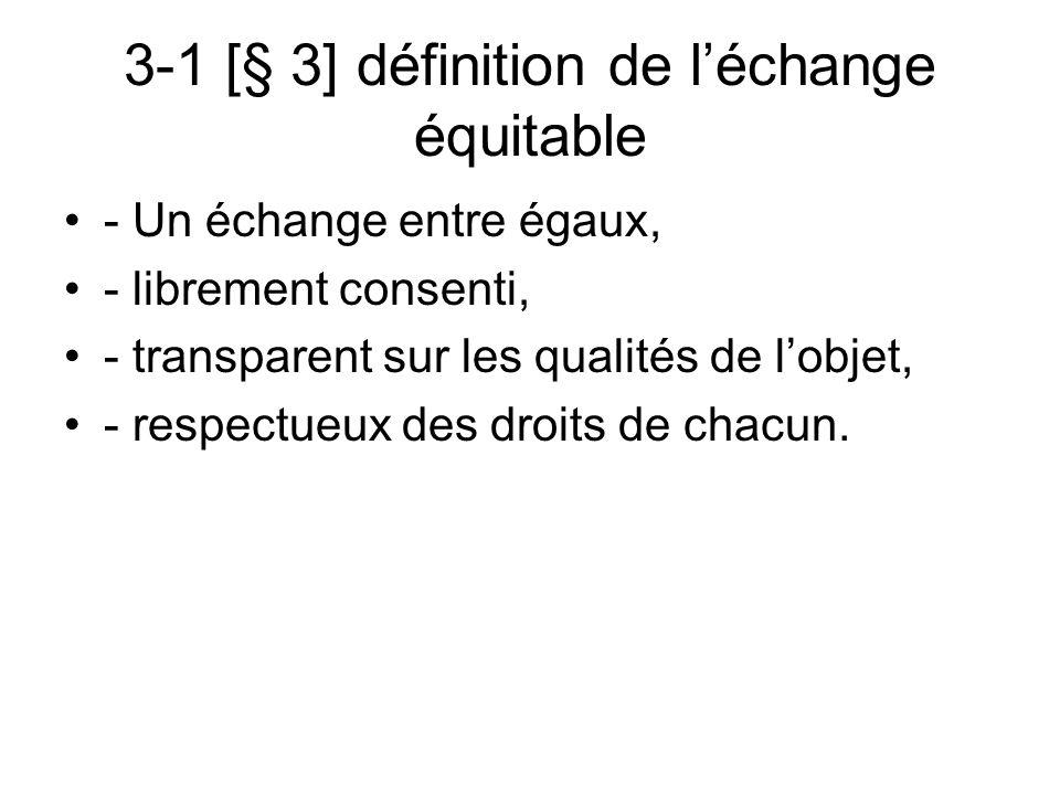 3-1 [§ 3] définition de léchange équitable - Un échange entre égaux, - librement consenti, - transparent sur les qualités de lobjet, - respectueux des