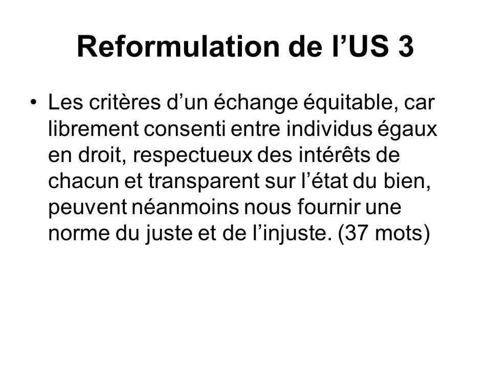 Reformulation de lUS 3 Les critères dun échange équitable, car librement consenti entre individus égaux en droit, respectueux des intérêts de chacun e