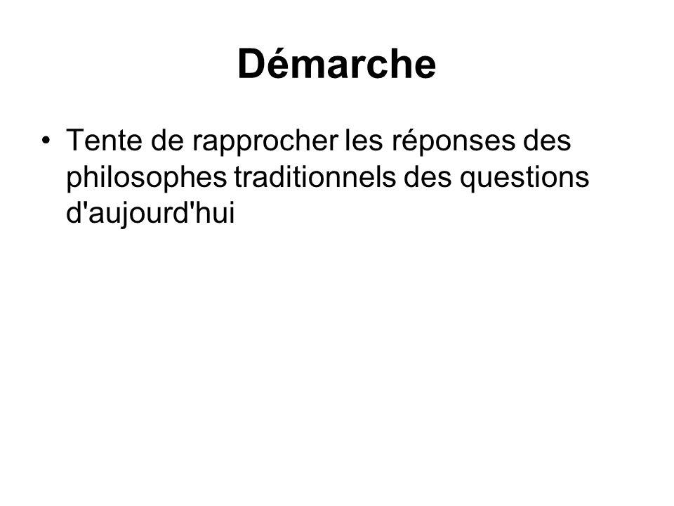 Démarche Tente de rapprocher les réponses des philosophes traditionnels des questions d'aujourd'hui