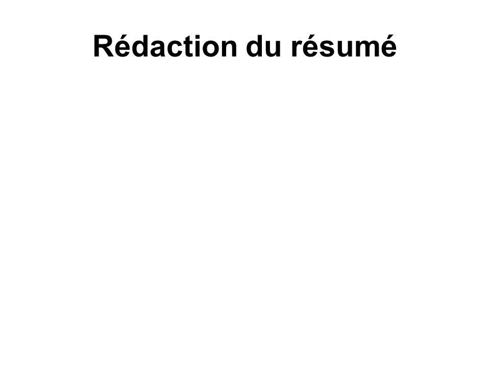 Rédaction du résumé