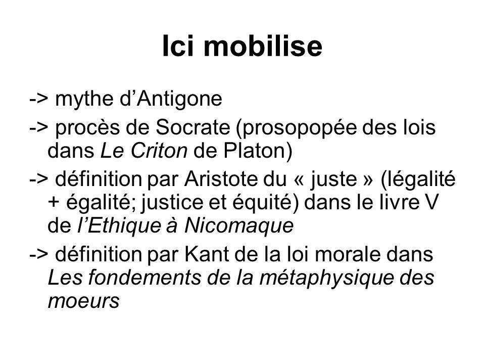 Ici mobilise -> mythe dAntigone -> procès de Socrate (prosopopée des lois dans Le Criton de Platon) -> définition par Aristote du « juste » (légalité
