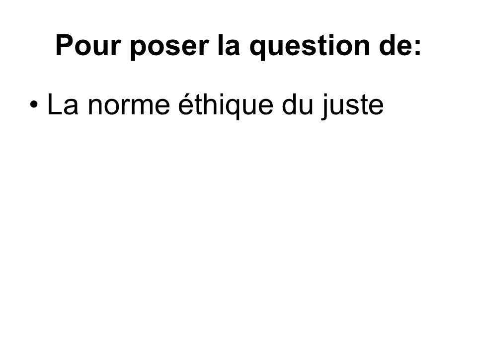 Pour poser la question de: La norme éthique du juste