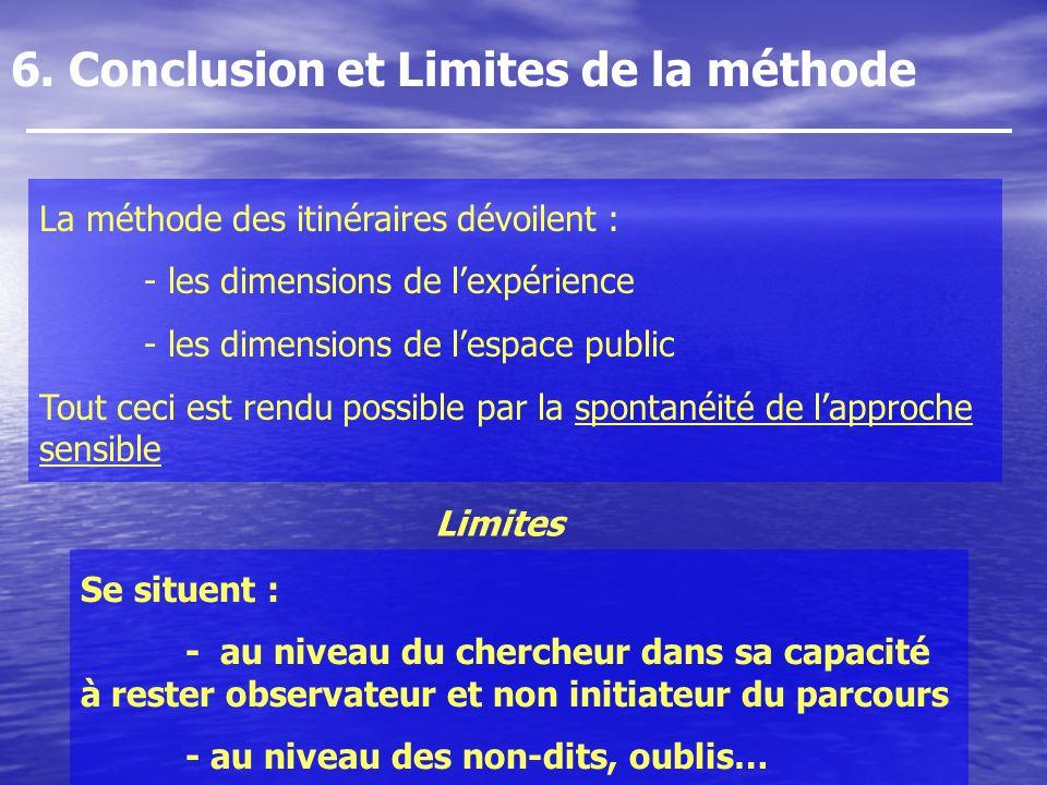 6. Conclusion et Limites de la méthode Se situent : - au niveau du chercheur dans sa capacité à rester observateur et non initiateur du parcours - au