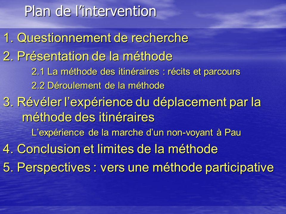 Plan de lintervention 1. Questionnement de recherche 2. Présentation de la méthode 2.1 La méthode des itinéraires : récits et parcours 2.2 Déroulement