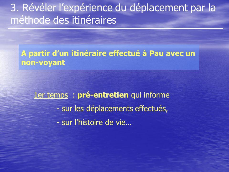 3. Révéler lexpérience du déplacement par la méthode des itinéraires A partir dun itinéraire effectué à Pau avec un non-voyant 1er temps : pré-entreti