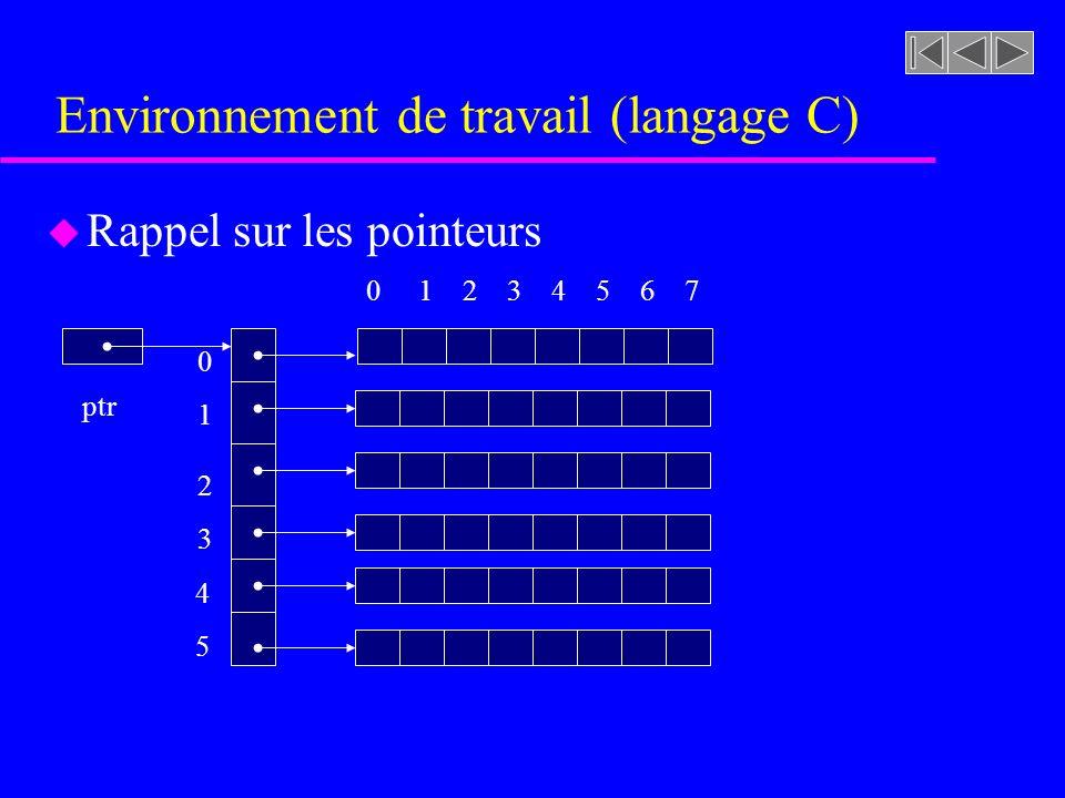 Environnement de travail (langage C) u Rappel sur les pointeurs ptr 0 1 2 3 4 5 6 7 0 1 2 3 4 5