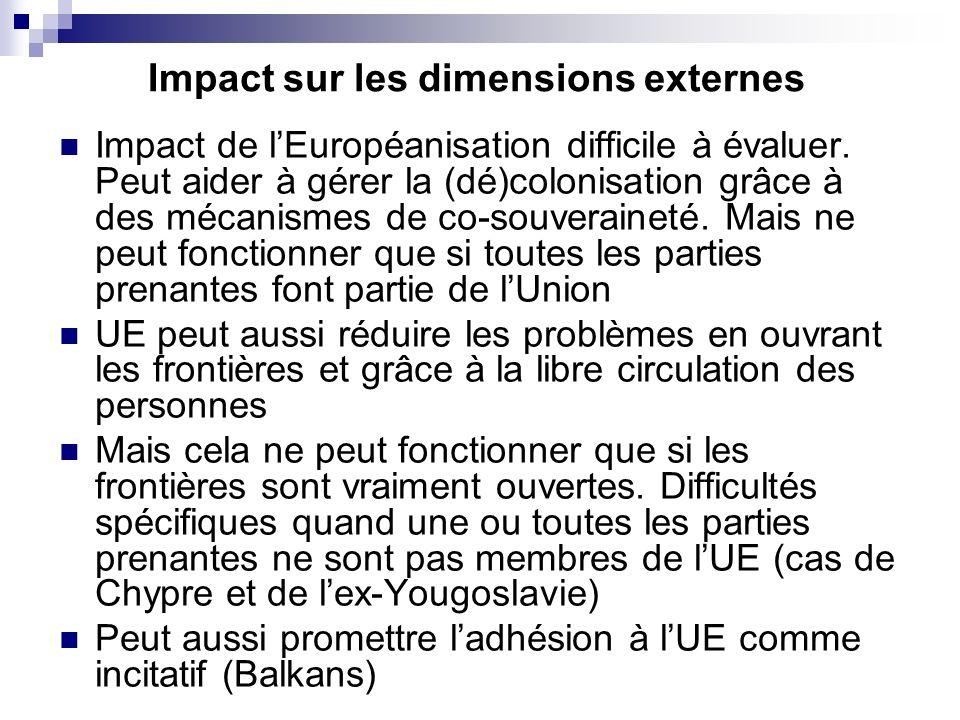 Impact de lEuropéanisation difficile à évaluer. Peut aider à gérer la (dé)colonisation grâce à des mécanismes de co-souveraineté. Mais ne peut fonctio