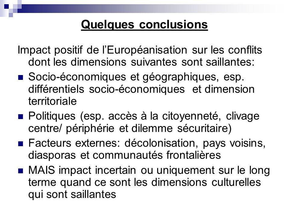 Quelques conclusions Impact positif de lEuropéanisation sur les conflits dont les dimensions suivantes sont saillantes: Socio-économiques et géographiques, esp.