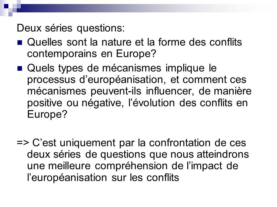 Deux séries questions: Quelles sont la nature et la forme des conflits contemporains en Europe? Quels types de mécanismes implique le processus deurop