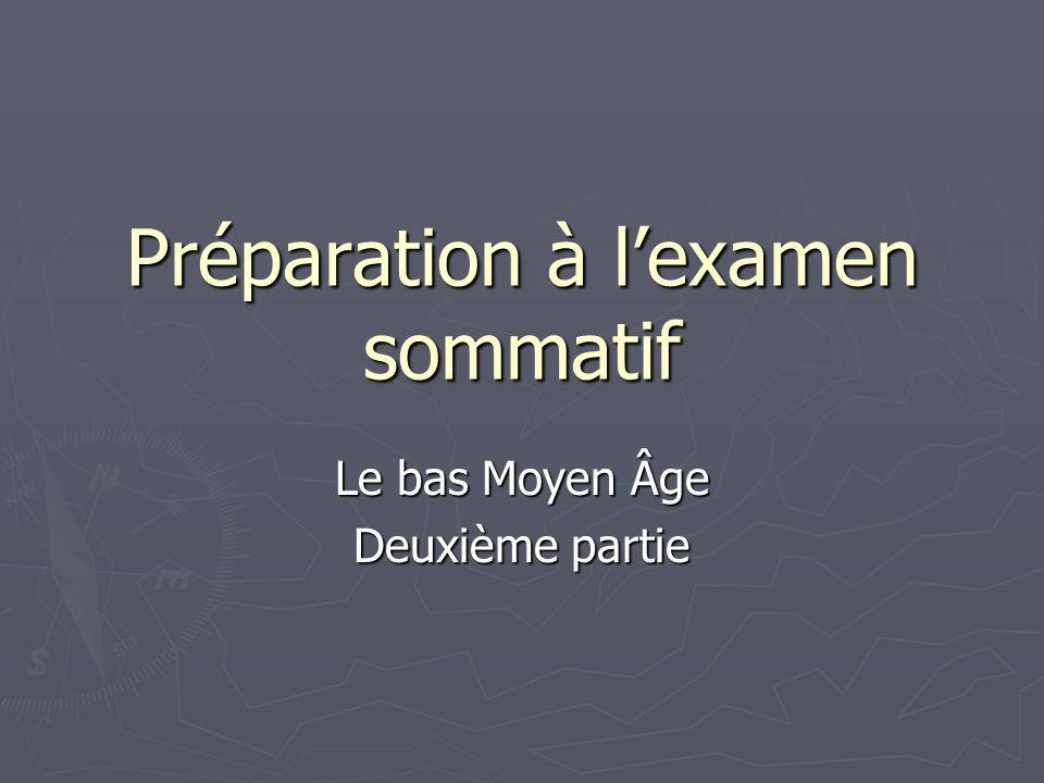 Préparation à lexamen sommatif Le bas Moyen Âge Deuxième partie