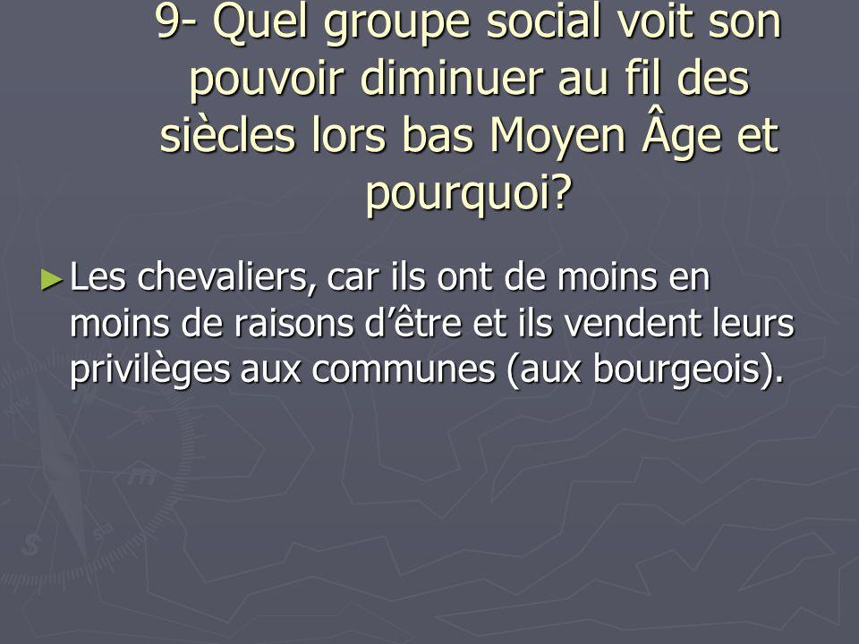 9- Quel groupe social voit son pouvoir diminuer au fil des siècles lors bas Moyen Âge et pourquoi? Les chevaliers, car ils ont de moins en moins de ra