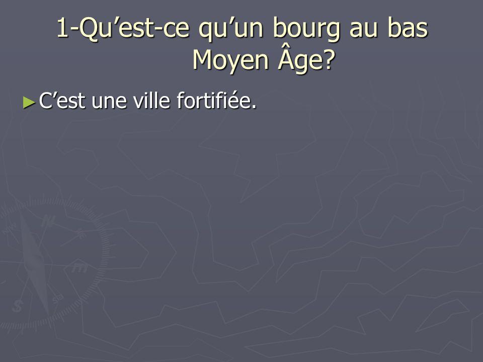 1-Quest-ce quun bourg au bas Moyen Âge? Cest une ville fortifiée. Cest une ville fortifiée.