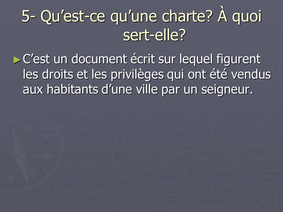 5- Quest-ce quune charte? À quoi sert-elle? Cest un document écrit sur lequel figurent les droits et les privilèges qui ont été vendus aux habitants d