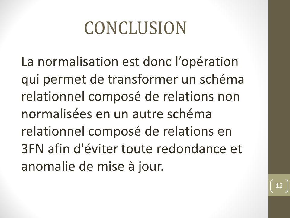 CONCLUSION La normalisation est donc lopération qui permet de transformer un schéma relationnel composé de relations non normalisées en un autre schéma relationnel composé de relations en 3FN afin d éviter toute redondance et anomalie de mise à jour.
