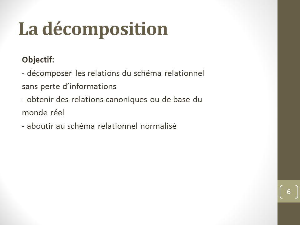 La décomposition Objectif: - décomposer les relations du schéma relationnel sans perte dinformations - obtenir des relations canoniques ou de base du