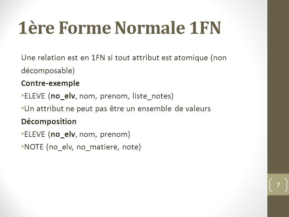 1ère Forme Normale 1FN Une relation est en 1FN si tout attribut est atomique (non décomposable) Contre-exemple ELEVE (no_elv, nom, prenom, liste_notes