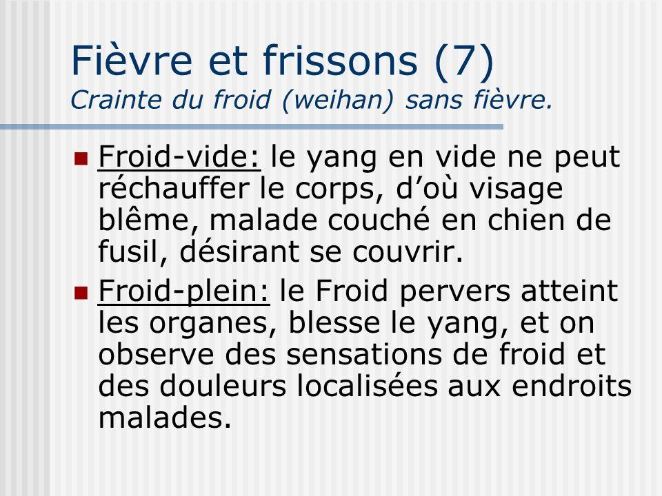 Fièvre et frissons (7) Crainte du froid (weihan) sans fièvre. Froid-vide: le yang en vide ne peut réchauffer le corps, doù visage blême, malade couché