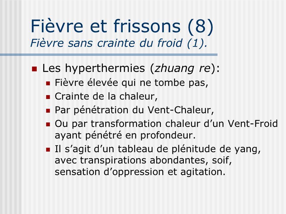 Fièvre et frissons (8) Fièvre sans crainte du froid (1). Les hyperthermies (zhuang re): Fièvre élevée qui ne tombe pas, Crainte de la chaleur, Par pén