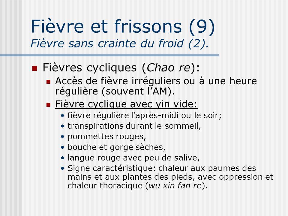Fièvre et frissons (9) Fièvre sans crainte du froid (2). Fièvres cycliques (Chao re): Accès de fièvre irréguliers ou à une heure régulière (souvent lA