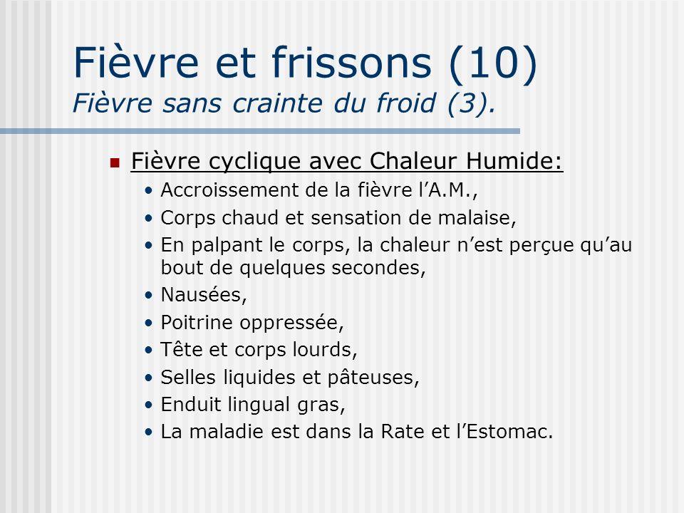 Fièvre et frissons (10) Fièvre sans crainte du froid (3). Fièvre cyclique avec Chaleur Humide: Accroissement de la fièvre lA.M., Corps chaud et sensat