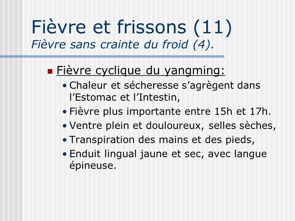 Fièvre et frissons (11) Fièvre sans crainte du froid (4). Fièvre cyclique du yangming: Chaleur et sécheresse sagrègent dans lEstomac et lIntestin, Fiè