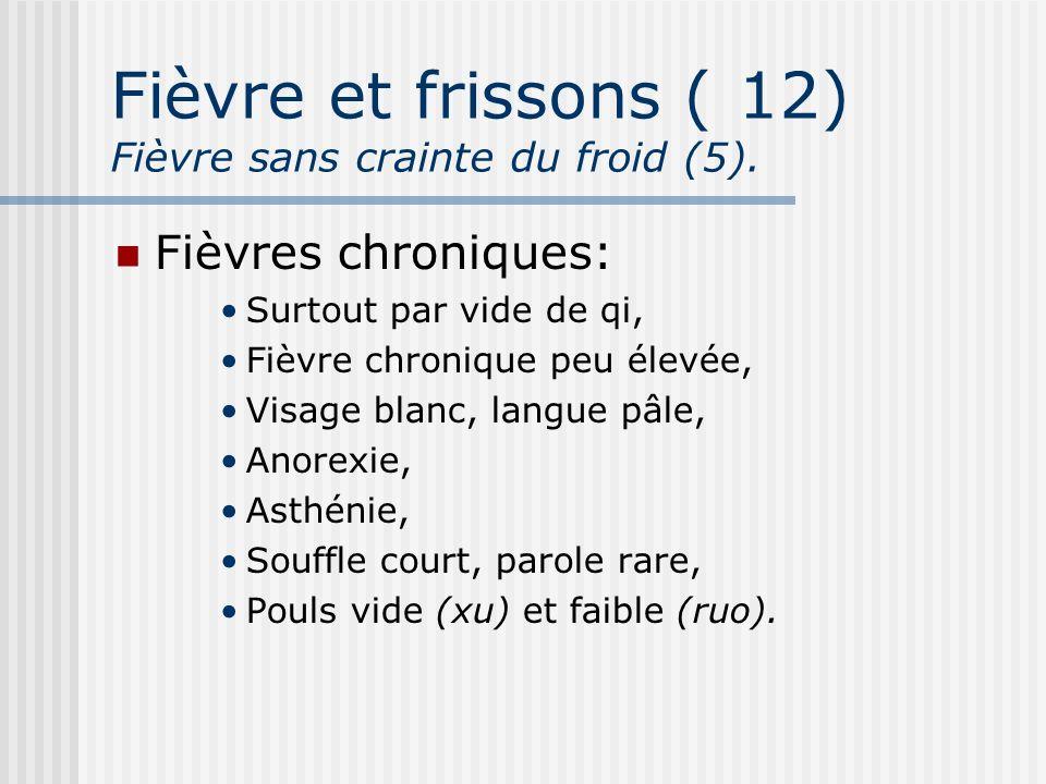 Fièvre et frissons (12) Fièvre sans crainte du froid (5). Fièvres chroniques: Surtout par vide de qi, Fièvre chronique peu élevée, Visage blanc, langu