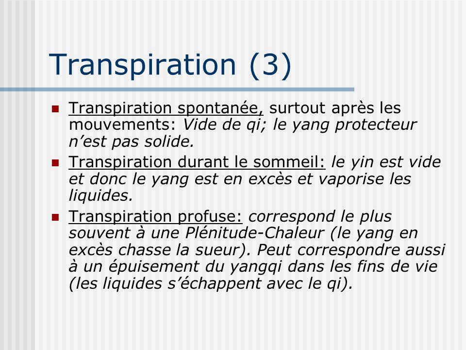 Transpiration (3) Transpiration spontanée, surtout après les mouvements: Vide de qi; le yang protecteur nest pas solide. Transpiration durant le somme