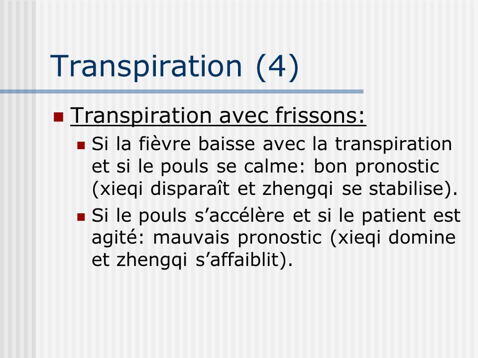 Transpiration (4) Transpiration avec frissons: Si la fièvre baisse avec la transpiration et si le pouls se calme: bon pronostic (xieqi disparaît et zh