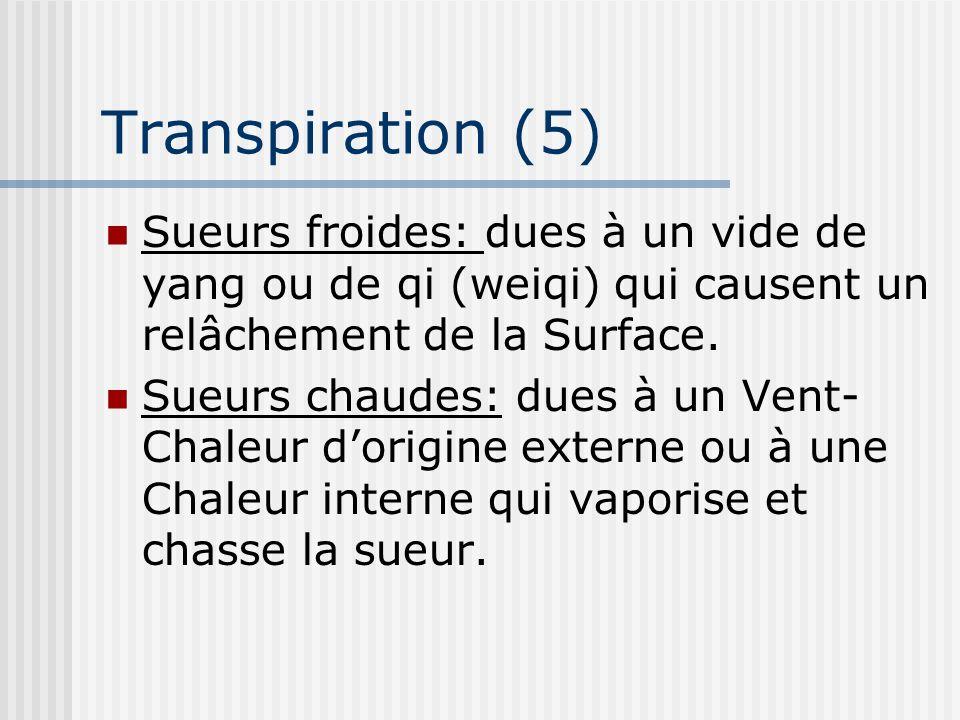 Transpiration (5) Sueurs froides: dues à un vide de yang ou de qi (weiqi) qui causent un relâchement de la Surface. Sueurs chaudes: dues à un Vent- Ch