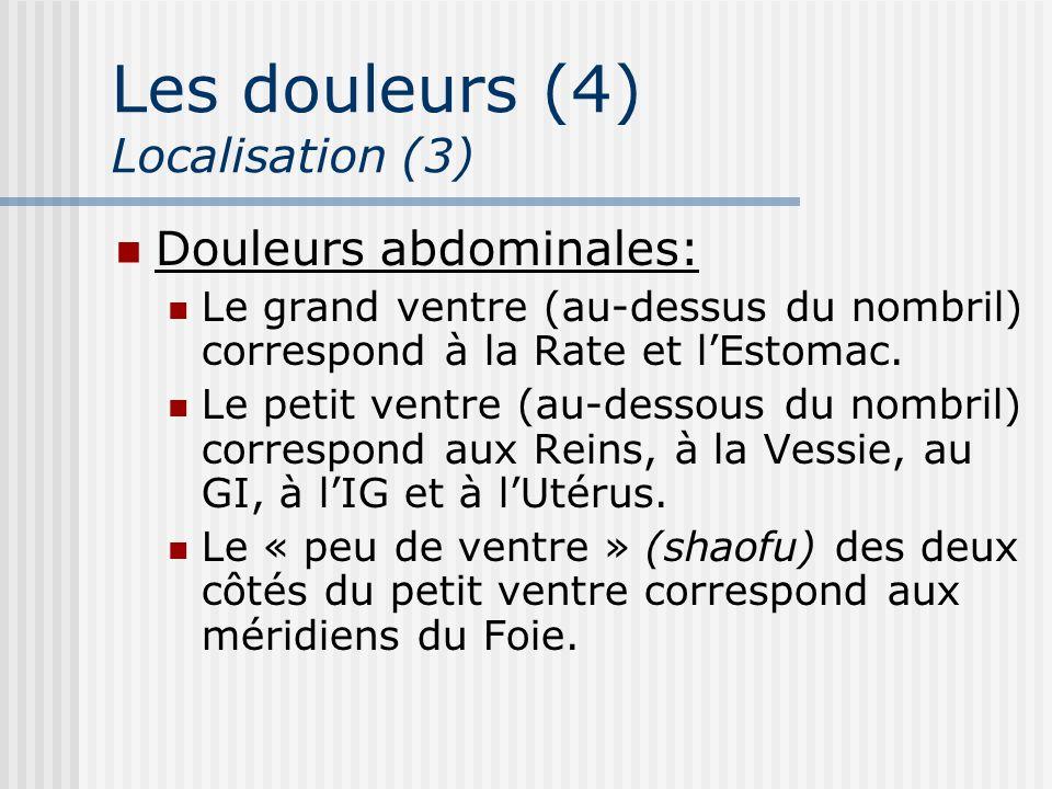 Les douleurs (4) Localisation (3) Douleurs abdominales: Le grand ventre (au-dessus du nombril) correspond à la Rate et lEstomac. Le petit ventre (au-d