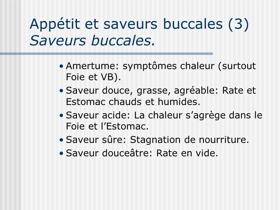 Appétit et saveurs buccales (3) Saveurs buccales. Amertume: symptômes chaleur (surtout Foie et VB). Saveur douce, grasse, agréable: Rate et Estomac ch