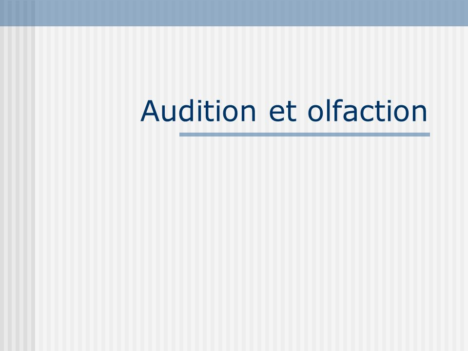 Audition et olfaction