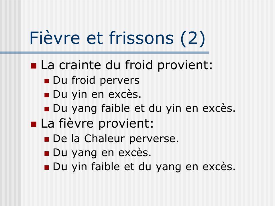 Fièvre et frissons (2) La crainte du froid provient: Du froid pervers Du yin en excès. Du yang faible et du yin en excès. La fièvre provient: De la Ch