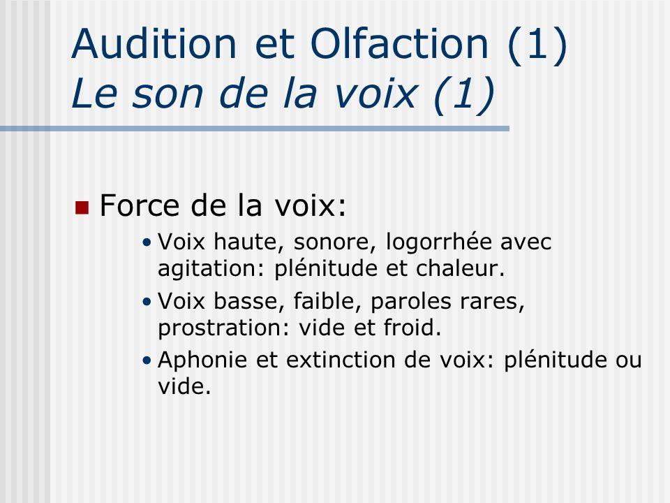Audition et Olfaction (1) Le son de la voix (1) Force de la voix: Voix haute, sonore, logorrhée avec agitation: plénitude et chaleur. Voix basse, faib