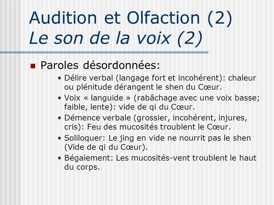 Audition et Olfaction (2) Le son de la voix (2) Paroles désordonnées: Délire verbal (langage fort et incohérent): chaleur ou plénitude dérangent le sh