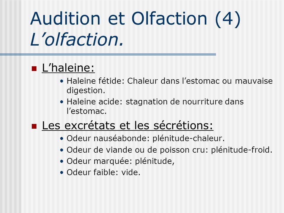 Audition et Olfaction (4) Lolfaction. Lhaleine: Haleine fétide: Chaleur dans lestomac ou mauvaise digestion. Haleine acide: stagnation de nourriture d