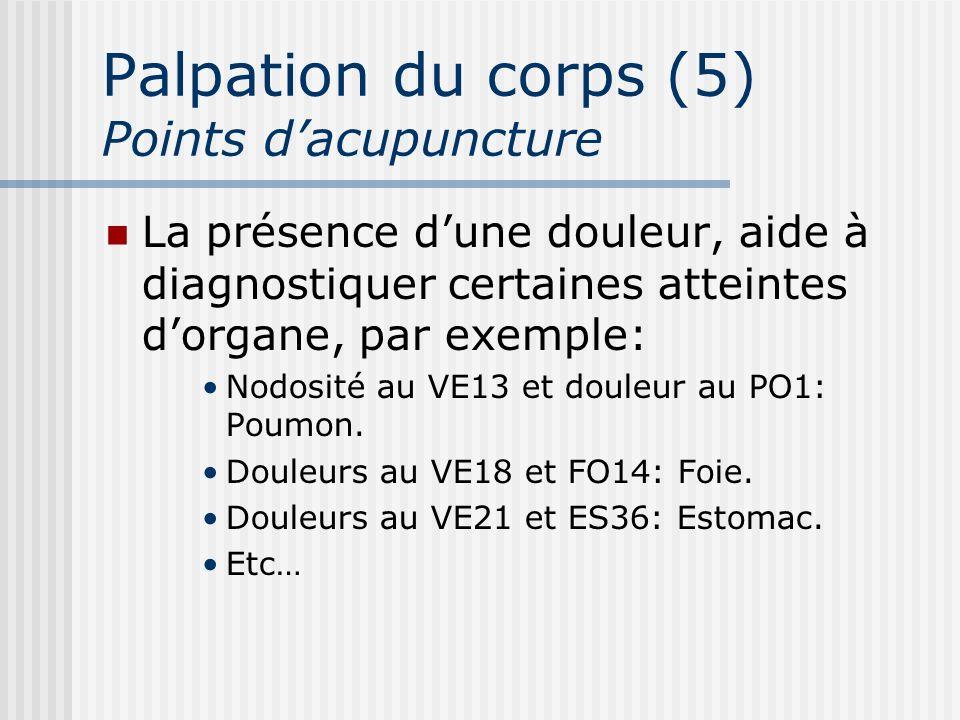 Palpation du corps (5) Points dacupuncture La présence dune douleur, aide à diagnostiquer certaines atteintes dorgane, par exemple: Nodosité au VE13 e
