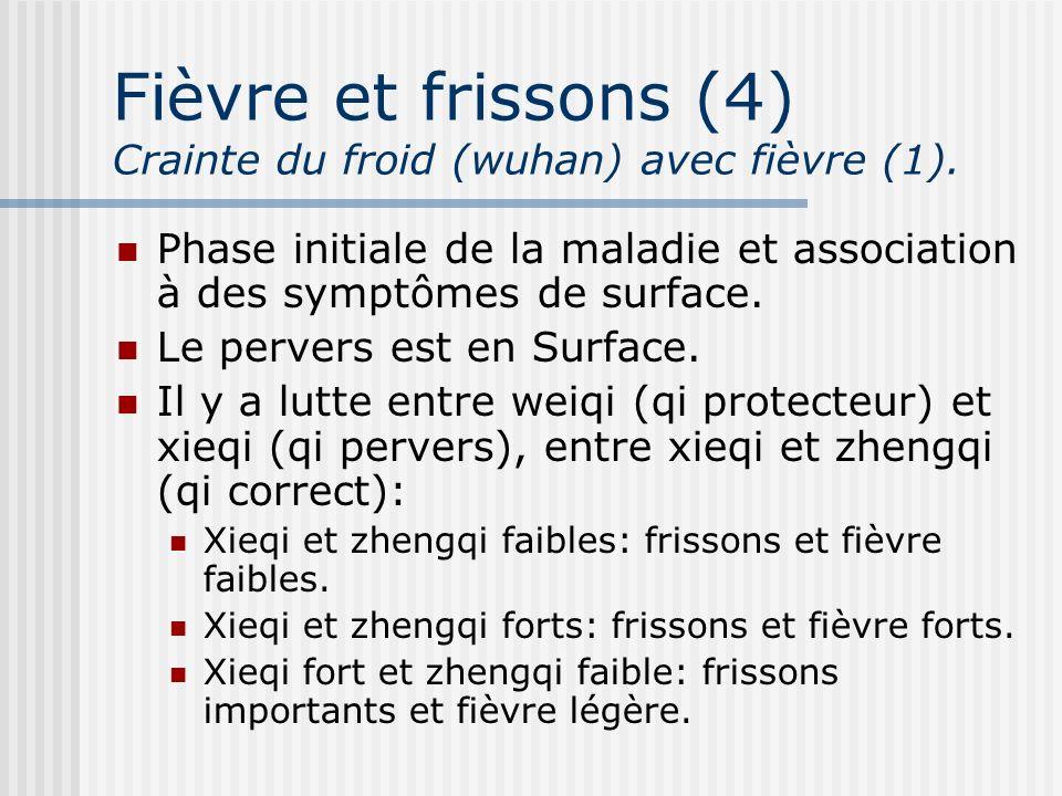 Fièvre et frissons (4) Crainte du froid (wuhan) avec fièvre (1). Phase initiale de la maladie et association à des symptômes de surface. Le pervers es