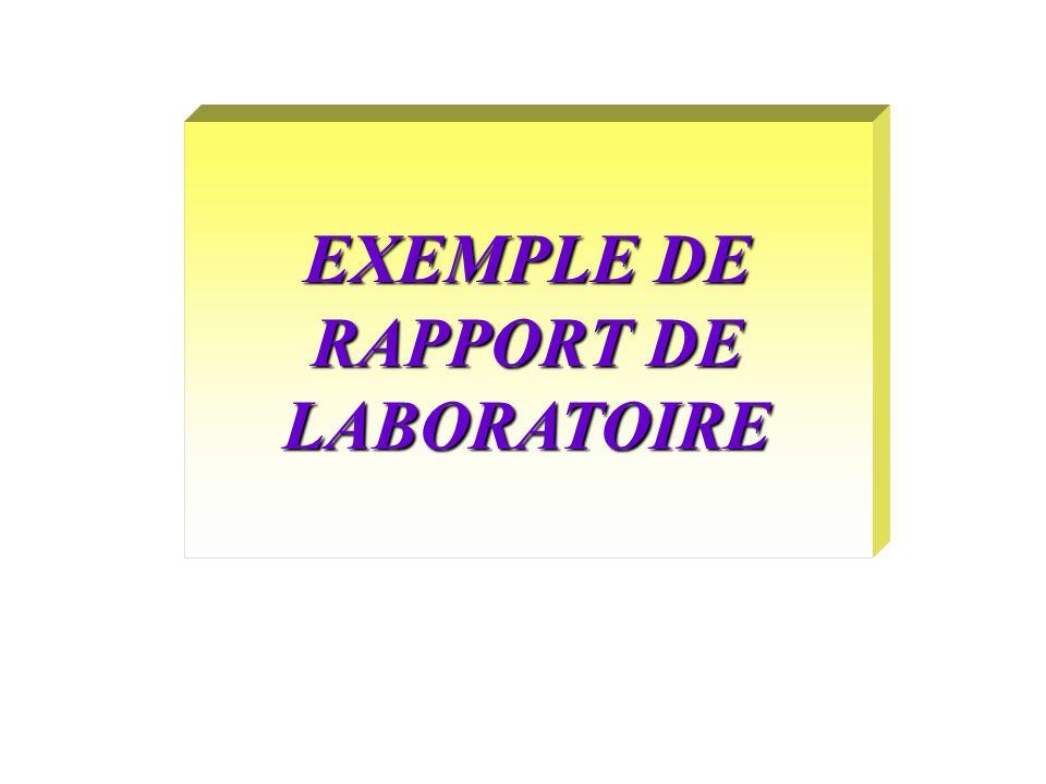 EXEMPLE DE RAPPORT DE LABORATOIRE