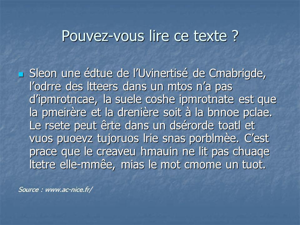 Pouvez-vous lire ce texte ? Sleon une édtue de lUvinertisé de Cmabrigde, lodrre des ltteers dans un mtos na pas dipmrotncae, la suele coshe ipmrotnate