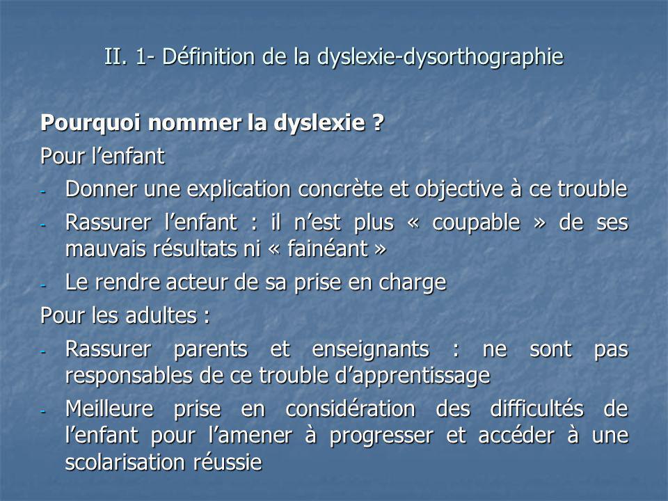 Pourquoi nommer la dyslexie ? Pour lenfant - Donner une explication concrète et objective à ce trouble - Rassurer lenfant : il nest plus « coupable »