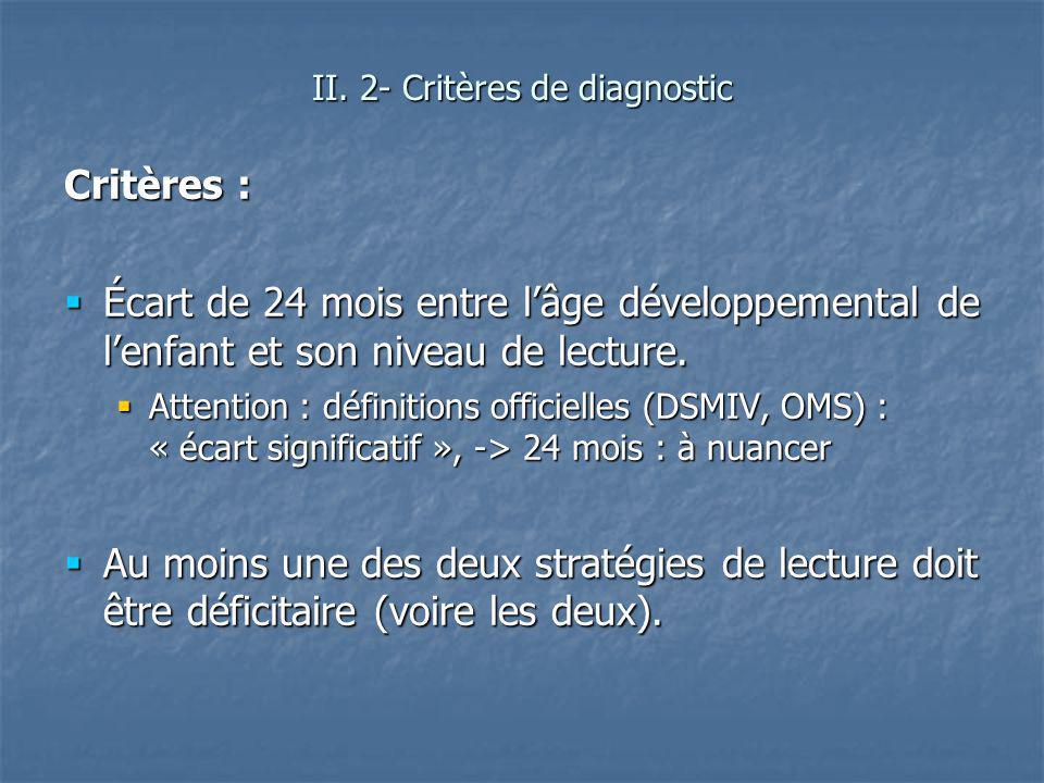 Critères : Écart de 24 mois entre lâge développemental de lenfant et son niveau de lecture. Écart de 24 mois entre lâge développemental de lenfant et